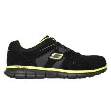Skechers 77068bklm - Men's - Syngergy - Ekron Lace Up Slip Resistant Athletic Alloy Toe - Black Trubuck with Lime Trim