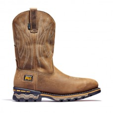 Timberland PRO 1001A - Men's - AG Boss Square EH Waterproof Alloy Toe - Pull-On Work Boot - Light Brown Distressed