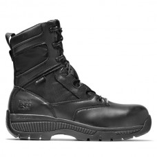 """Timberland PRO 1165A - Men's - 8"""" Valor Duty Waterproof Side Zip EH Composite Toe - Black Smooth Leather"""