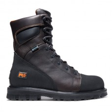 """Timberland PRO 95553 - Men's - 8"""" Rigmaster EH Waterproof Steel Toe Boot - Brown Full-Grain with Ever-Guard™ Leather"""
