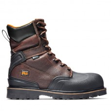 """Timberland PRO A11SB - Men's - 8"""" Rigmaster EH Waterproof Steel Toe - Brown Tumbled Leather"""
